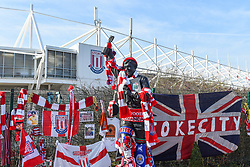 February 23, 2019 - Stoke On Trent, England, United Kingdom - Gordon Bonks statue dressed up with scarves and his book during the Sky Bet Championship match between Stoke City and Aston Villa at the Britannia Stadium, Stoke-on-Trent on Saturday 23rd February 2019. (Credit Image: © Mi News/NurPhoto via ZUMA Press)