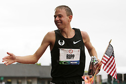 Galen Rupp on victory lap after winning 10,000 meters