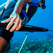 Commercial fisherman Andres Maldonado hunts lobsters and fish off Cabo Rojo, Puerto Rico. He noticed drastic and obvious declines in fish numbers and habitat availbale after Hurricane Maria in 2017 which put many other commercial fisherman out of business. Image release available.