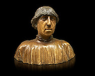 """Painted marble bust of Ferdinand of Aragon, King of Naples (1423-1494) from the """"Porta Salvatore"""" Sulmona, Italy. Variously  attributed to Pietro do Milano (around 1435-1473) Francesco Laurana (circa 1430-1502) and Domenico Gagini (quote from 1448-492).  Inv RF 745, The Louvre Museum, Paris."""