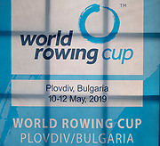 Plovdiv, Bulgaria, 9th May 2019, FISA, Rowing World Cup 1,  Signage, [© Peter SPURRIER]