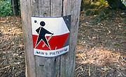 Nederland, Berg en Dal, 1-7-2011Aanduiding met een bordje aan een paal van het Pieterpad in een bos in het Rijk van Nijmegen.Foto: Flip Franssen/Hollandse Hoogte