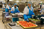 "A production line of lady employees from the world's largest independent provider of airline catering and provisioning services, Gate Gourmet, prepare salad trays in the company's factory on the southern perimeter road at Heathrow Airport, West London. Gate Gourmet serve more than 200 million meals on 2 million airline flights a year to their 250-plus airline customers at more than 100 airport locations around the globe. Apart from creating the bespoke meals for an airline's culture and ethnic demands, that pack the pre-flight carts, deliver and load into the aircraft galleys and afterwards, they dispose of the waste and strip, wash and sterilize the equipment. From writer Alain de Botton's book project ""A Week at the Airport: A Heathrow Diary"" (2009)."