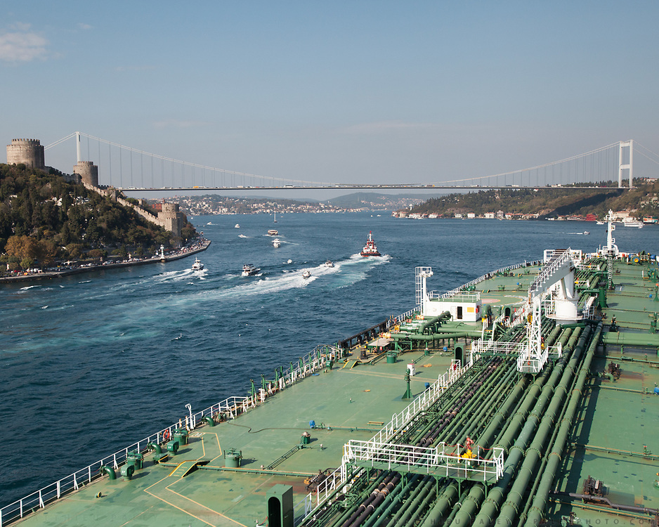 Passing the narrowest passage of the Bosphorus, at Rumela Hisari, by the second bridge over the Bosphorus. <br /> Going up the Bosphorus on an oil tanker (Suez Max, 269 meters long) owned by a Turkish company. In Istanbul, Turkey.