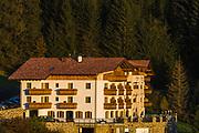 Hotel Plunger, afternoon light, October, border of Schlern-Rosengarten Nature Reserve, South Tyrol, Italy
