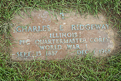 31 August 2017:   Veterans graves in Park Hill Cemetery in eastern McLean County.<br /> <br /> Charles E Ridgeway  Illinois Private First Class Quartermaster Corps  World War I  Sept 15 1887  Dec 1 1968