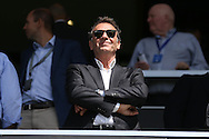 Massimo Cellino, Leeds United owner looks on from the stands. Skybet EFL championship match, Queens Park Rangers v Leeds United at Loftus Road Stadium in London on Sunday 7th August 2016.<br /> pic by John Patrick Fletcher, Andrew Orchard sports photography.