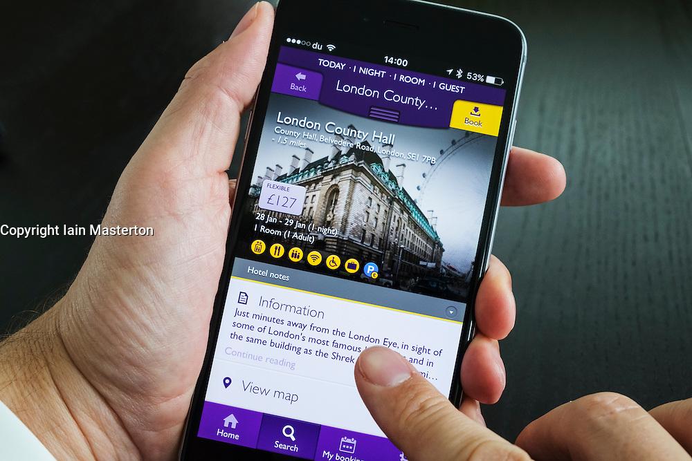 Homepage of Premier Inn hotel room booking app on iPhone 6 plus smart phone