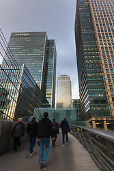 Canary Wharf's glass and steel skyscrapers as European markets follow US and Asian markets lower on Tuesday as investors continued to dump shares. London, February 06 2018.