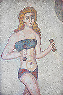 Roman mosaic detail of a young women exercising with weights from the Room of the Ten Bikini Girls, room no 30, from the Ambulatory of The Great Hunt, room no 28,  at the Villa Romana del Casale which containis the richest, largest and most complex collection of Roman mosaics in the world. Constructed in the first quarter of the 4th century AD. Sicily, Italy. A UNESCO World Heritage Site. .<br /> <br /> If you prefer to buy from our ALAMY PHOTO LIBRARY  Collection visit : https://www.alamy.com/portfolio/paul-williams-funkystock/villaromanadelcasale.html<br /> Visit our ROMAN MOSAICS  PHOTO COLLECTIONS for more photos to buy as buy as wall art prints https://funkystock.photoshelter.com/gallery/Roman-Mosaics-Roman-Mosaic-Pictures-Photos-and-Images-Fotos/G00008dLtP71H_yc/C0000q_tZnliJD08
