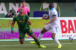 November 4, 2018 - Portland, OR, U.S. - PORTLAND, OR - NOVEMBER 04: Portland Timbers striker Jeremy Ebobisse (17) is fouled by Seattle Sounders defender Nouhou Tolo (5) during the Portland Timbers first leg of the MLS Western Conference Semifinals against the Seattle Sounders on November 04, 2018, at Providence Park in Portland, OR. (Photo by Diego Diaz/Icon Sportswire) (Credit Image: © Diego Diaz/Icon SMI via ZUMA Press)