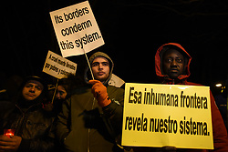 February 6, 2018 - Madrid, Madrid, Spain - Protesters hold banners during a  protest in Madrid to show solidarity with the victims of the borders around the world, and especially with migrants drowned in Tarajal tragedy on 2014. (Credit Image: © Jorge Sanz/Pacific Press via ZUMA Wire)