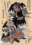 Samurai warriors Ichijo-Jiro-Tadanori and and Notonokami Noritsune fighting. Print c1820.   Shuntei Katsukawa (1770-c1833) Japanese artist. Warlike Fierce Threatening Weapon Pike Sword