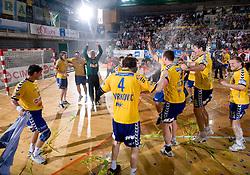 Players of Cimos Koper celebrate at Men Slovenian Handball Cup, final match between RK Cimos Koper and RK Celje Pivovarna Lasko, on April 19, 2009, in Arena Bonifika, Koper, Slovenia. Cimos Koper won 24:19 and became Slovenian Cup Champion. (Photo by Vid Ponikvar / Sportida)