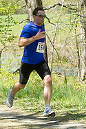 Gardiner, New York - Martin Skotnicki sprints for the finish line in the Rock the Ridge 50-mile endurance challenge race at the Mohonk Preserve on May 4, 2013. The race is part of Mohonk's 50th anniversary celebration and a fundraiser for the preserve.