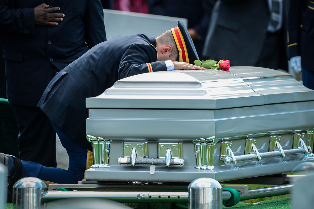 8/14/14 4:30:28 PM -- Arlington, VA, U.S.A  -- Army Lt. Matthew Greene says goodbye at the casket of his father U.S. Army Maj. Gen. Harold J. Greene who was killed supporting Operation Enduring Freedom at the time of his death in Afghanistan, during funeral at Arlington Cemetery.   --    Photo by Jack Gruber, USA TODAY Staff ORG XMIT:  JG 131546 Gen. Greene 8/14/2014 [Via MerlinFTP Drop]