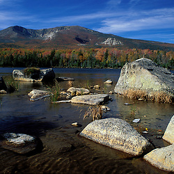 Baxter State Park, ME. Sandy Stream Pond and Mt. Katahdin in fall.