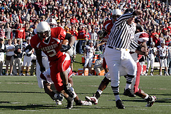 14 October 2006: Rafael Rice breaks free at the 10 yard line and heads for the end zone. The 6th largest crowd at Hancock Stadium came to watch a game that put 8th ranked Southern Illinois Salukis against 5th ranked Illinois State University Redbirds.  The Redbirds stole the show for a Homecoming win by a score of 37 - 10. Competition commenced at Hancock Stadium on the campus of Illinois State University in Normal Illinois.<br />