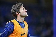Chelsea defender Marcos Alonso (3) warms up prior to the The FA Cup fourth round match between Chelsea and Sheffield Wednesday at Stamford Bridge, London, England on 27 January 2019.