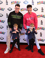 """Michael & Paul Atwal Brice with twins Lance and Lotan at the """"Moley"""" premiere, Leicester Square, London, Location, London, UK - 25 Sep 2021 photo by Roger Alacron"""