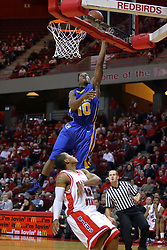 06 December 2008: Robert Murry gets a lay up after slowing up and letting Lloyd Phillips speed past during a game where the  Illinois State University Redbirds extended their record to 9-0 with a 76-70 win over the Eagles of Morehead State on Doug Collins Court inside Redbird Arena on the campus of Illinois State University in Normal Illinois