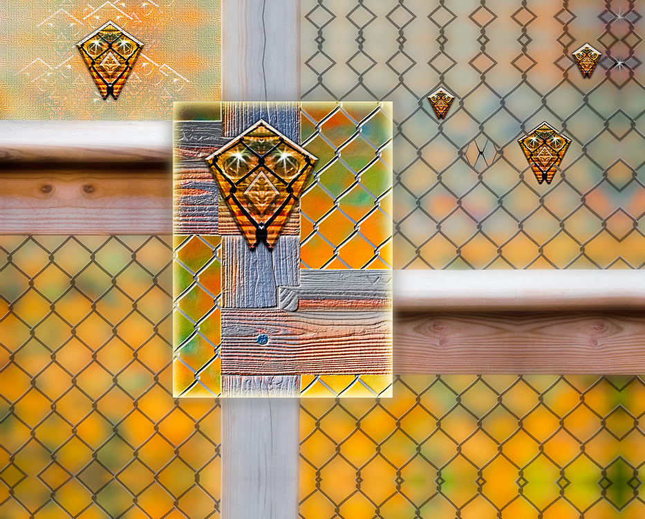 """""""Public Barrier"""", derivative image from a photo of scenic overlook safety fence, overcast light, October, Porcupine Mountains Wilderness State Park, Ontonagon County, Upper Peninsula, Michigan, USA"""