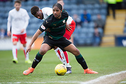 Falkirk's Myles Hippolyte and Raith Rovers Harry Panayiotou. <br /> half time : Raith Rovers 1 v 0 Falkirk, Scottish Championship game played 23/4/2016 at Stark's Park.