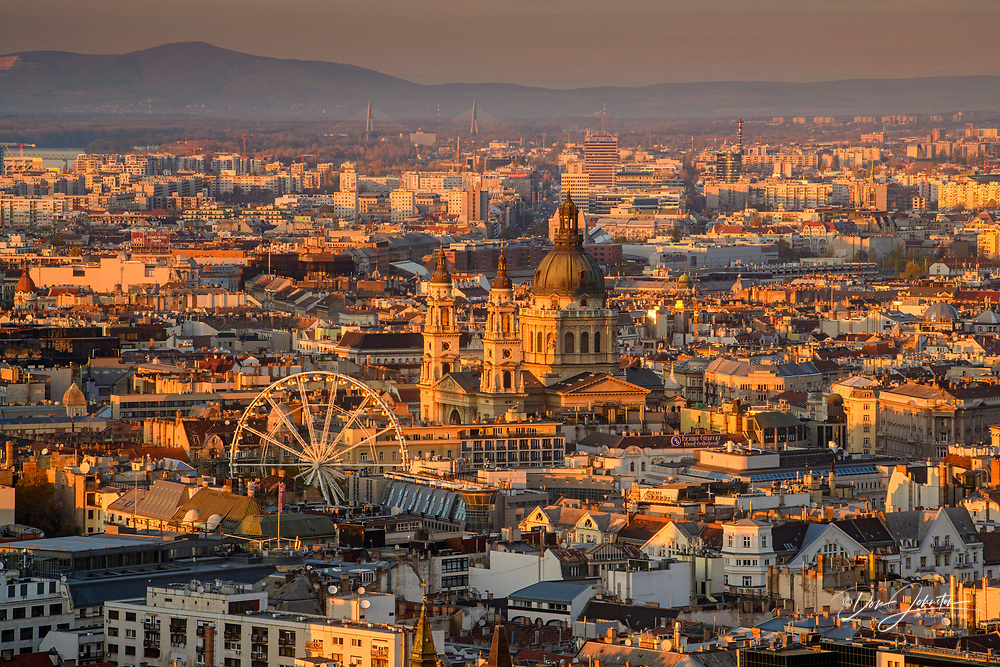 Views of Budapest from the Citadella- Buda buildings with the Basilica, Budapest, Central Hungary, Hungary
