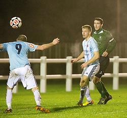 Gala Fairydean Rovers Jamie Gibson scoring their third goal.<br /> Edinburgh University 2 v 3 Gala Fairydean Rovers, Scottish Sun Lowland League game played 15/11/2014 at Peffermill Playing Fields.