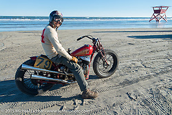 Go Takamine with his custom Indian Chief Born Free bike at The Race of Gentlemen. Wildwood, NJ, USA. October 11, 2015.  Photography ©2015 Michael Lichter.