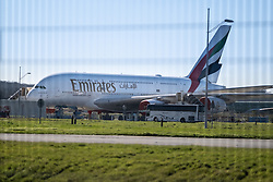A380 from Emirates, waiting to be delivered. Airbus, the European aerospace group, announced the end of production of the A380, February 14, 2019, in Toulouse (France). Twelve years after its commissioning, and failing to find a satisfactory sales market, the decision was made following the withdrawal of some companies and the reduction of recent Emirates orders. The last planes will have to leave the chains of production in 2021. Photo by Patrick BATARD / ABACAPRESS.com