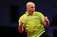 Michael van Gerwen (Ned) in action against Gary Anderson (Scot).McCoy's Premier league darts event at the Motorpoint Arena in Cardiff, South Wales. pic by Andrew Orchard,