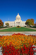 Flowers in front of the Minnesota state capitol, St. Paul, Minnesota