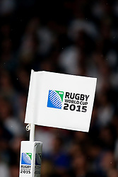 Rugby World Cup corner flag - Mandatory byline: Rogan Thomson/JMP - 07966 386802 - 18/09/2015 - RUGBY UNION - Twickenham Stadium - London, England - England v Fiji - Rugby World Cup 2015 Pool A.