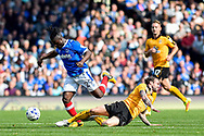 Cambridge United Midfielder, James Dunne (4) tackles Portsmouth Midfielder, Stanley Aborah (29) during the EFL Sky Bet League 2 match between Portsmouth and Cambridge United at Fratton Park, Portsmouth, England on 22 April 2017. Photo by Adam Rivers.