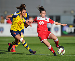 Bristol Academy's Georgia Evans controls the ball - Photo mandatory by-line: Paul Knight/JMP - Mobile: 07966 386802 - 09/05/2015 - SPORT - Football - Bristol - Stoke Gifford Stadium - Bristol Academy Women v Arsenal Ladies FC - FA Women's Super League