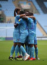 Coventry City's Amadou Bakayoko is congratulated by team mates after scoring from the penalty spot against Plymouth Argyle