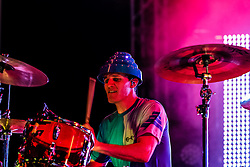 """NEWPORT BEACH, California/USA (Saturday, September 15, 2012) -  John Jeffrey drummer of American punk rock/new wave band DEVO gave a solid performance at the 2012 Taste of Newport in Newport Beach, CA. They performed some of their hits including """"Whip it"""".  Blondie and Devo are co-headlining """"Whip It To Shreds"""" 13 select cities U.S. tour. Byline and/or web usage link must read PHOTO © Eduardo E. Silva/SILVEX.PHOTOSHELTER.COM."""