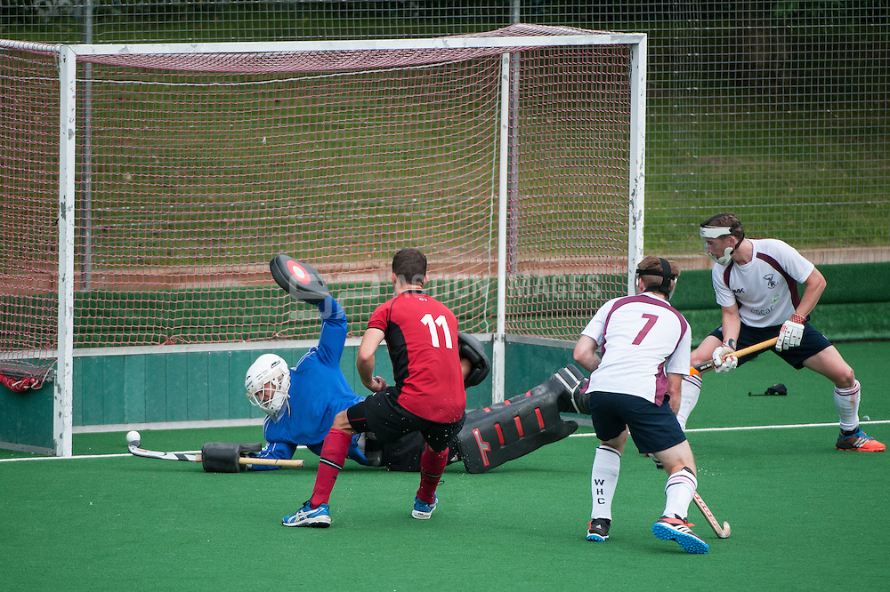 Southgate's Rick Gay converts a penalty corner to score their second goal. Southgate v Wimbledon - Now: Pensions National Hockey League, Premier Division, Trent Park, London, UK on 27 September 2014. Photo: Simon Parker