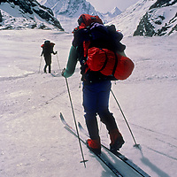 Ski Mountaineers cross Warwan Pass en route from Ladakh to Kashmir during an expedition across India's Great Himalaya Range.