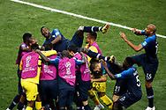 Kylian Mbappe of France celebrates after his goal with teammates during the 2018 FIFA World Cup Russia, final football match between France and Croatia on July 15, 2018 at Luzhniki Stadium in Moscow, Russia - Photo Tarso Sarraf / FramePhoto / ProSportsImages / DPPI