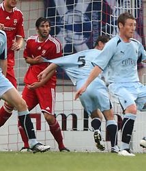 Kai Koitka holds Jackie McNamara.<br /> Vaduz 2 v 0 Falkirk FC at the Rheinpark Stadium for their Europa League second-round qualifier against Vaduz in Liechtenstein.<br /> ©2009 Michael Schofield. All Rights Reserved.