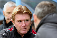 Scunthorpe United Manager Stuart McCall  greets Plymouth Argyll Manager Derek Adams  prior to the EFL Sky Bet League 1 match between Scunthorpe United and Plymouth Argyle at Glanford Park, Scunthorpe, England on 27 October 2018. Pic Mick Atkins