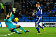 Cardiff City's Anthony Pilkington (r) chips Rotherham goalkeeper Lee Camp to score his teams 2nd goal and make the game 2-2. Skybet football league championship match, Cardiff city v Rotherham Utd at the Cardiff city stadium in Cardiff, South Wales on Saturday 23rd January 2016.<br /> pic by Carl Robertson, Andrew Orchard sports photography.