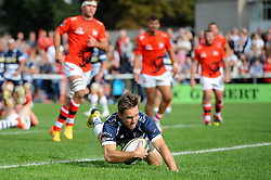 Bristol Rugby replacement Adrian Jarvis scores a try - Mandatory byline: Dougie Allward/JMP - 07966 386802 - 13/09/2015 - RUGBY UNION - Old Deer Park - Richmond, London, England - London Welsh v Bristol Rugby - Greene King IPA Championship.