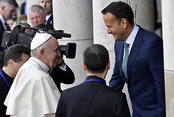 Pope Francis meets the Prime Minister of Ireland Leo Varadkar in Dublin, Ireland on August 25, 2018. Pope Francis has arrived in Ireland for the first papal visit to the country in nearly four decades. Francis is ostensibly in Ireland to attend the World Meeting of Families (WMOF) - a major global church event focused on promoting family values. Photo by ABACAPRESS.COM