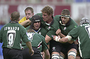 Photo Peter Spurrier<br /> 29/09/02   ZURICH PREMIERSHIP RUGBY<br /> London Irish vs Wasps<br /> Exiles hooker Naka Drotke, look's to move the ball out, after, Bob Casey wins the line out ball, Madejski Stadium, Reading Berkshire, [Mandatory Credit: Peter Spurrier/Intersport Images]