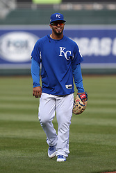 April 12, 2018 - Kansas City, MO, U.S. - KANSAS Kansas City, MO - APRIL 12: Kansas City Royals third baseman Cheslor Cuthbert (19) before an MLB game between the Los Angeles Angels of Anaheim and Kansas City Royals on April 12, 2018 at Kauffman Stadium in Kansas City, MO.  (Photo by Scott Winters/Icon Sportswire) (Credit Image: © Scott Winters/Icon SMI via ZUMA Press)