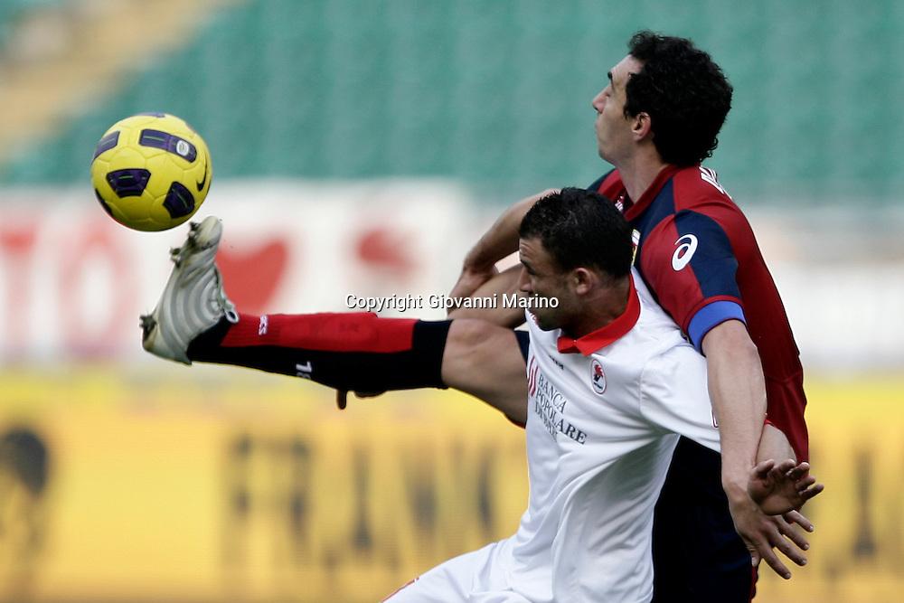 Bari (BA), 13-02-2011 ITALY - Italian Soccer Championship Day 25 - Bari VS Genoa..Pictured: Ghezzal (Ba) Dainelli (GE).Photo by Giovanni Marino/OTNPhotos . Obligatory Credit
