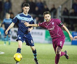 Forfar Athletic's Eoghan McCawl and Arbroath's Mark Whatley. Forfar Athletic 0 v 1 Arbroath, Scottish Football League Division Two game played 10/12/2016 at Station Park.